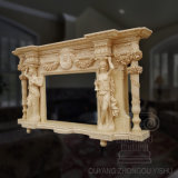 Escultura de pedra de mármore amarela do mármore da cornija de lareira da chaminé de Carvingmarble da decoração