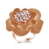 La boucle des femmes d'imitation faits sur commande de diamant de fleur jaune pour le jour de Valentine