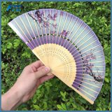 Het vouwen van het Patroon van de Ventilator van de Hand drukte de Kleurrijke Vouwbare Ventilators van het Bamboe van de Zijde af