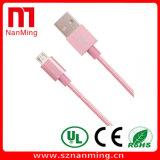 Cabo trançado de nylon do carregador da sincronização do cabo colorido do USB do micro com caixa do metal