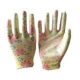 Женщины работают в саду перчатки с цветком PU покрытием
