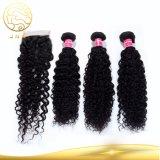閉鎖が付いているインドの巻き毛の波のバージンの人間の毛髪を販売するBesting