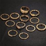 12 Ring van de Vinger van MIDI van de Kleur van de Charme Pcset de Gouden