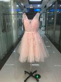 Розовый Lovemay Красивый кружевной тюль валика клея короткие стороны вечерние платья