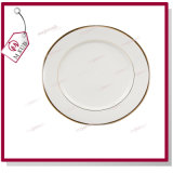 Vente chaude ! 10'' de la céramique Plaque blanche avec jantes d'or