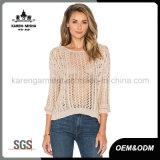 Fashion hueco suéter de costilla de la parte posterior del lazo para las mujeres
