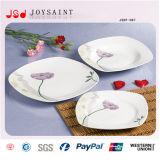 Jeu de dîner carré de porcelaine de forme