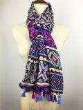 Печать Rose нового маркизета типа 100%Cotton пурпуровая с окаимленными шарфами способа длинними