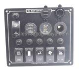 5 Interrupteur à bascule de Gang Multifuctional-Circuit du panneau des commutateurs du disjoncteur pour RV Voiture marine avec un voltmètre et un chargeur USB Cigaretter prise allume-cigares