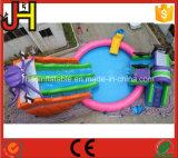 Скольжение воды горячего сбывания гигантское раздувное с бассеином для напольной игры занятности