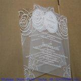 Conception unique de découpe laser Carte Aacrylic Invitation de mariage