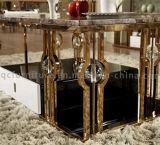 호화스러운 황금 로즈 대리석 최고 스테인리스 프레임에 의하여 이용되는 탁자