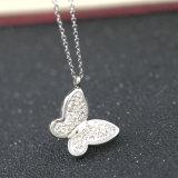 Belas jóias em aço inoxidável de moda Diamond Butterfly Colar Pendente