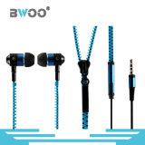 3.5mmのステレオ耳のマイクロフォンのヘッドセットの携帯電話のジッパーのイヤホーン
