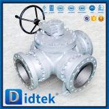 Шариковый клапан фланца стали углерода Didtek трехходовой