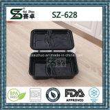 Черный контейнер еды Microwavable устранимый с прикрепленной на петлях крышкой