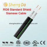 Siamês RG6 Blindagem do cabo de antena coaxial Padrão