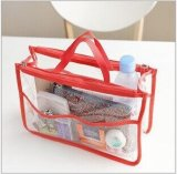 OEM Clear PVC Plastic Travel Cosmetic Zipper Bag com bolso