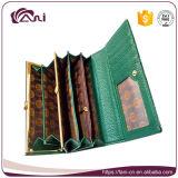 Кожа нового бумажника повелительниц конструкции неподдельная, длинний бумажник для повелительниц, выбитая повелительница Бумажник