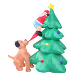 Décoration de vacances en plein air Arbre gonflable avec affiche de chien pour fête de famille