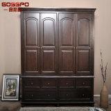 Высеканный рукой шкаф спальни шкафа одежд мебели деревянный (GSP17-015)