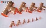 T de cobre, encaixe de cobre, três ligações, cotovelo de cobre, curvatura de cobre