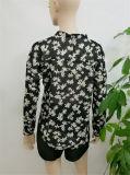 Neues der Form-2017 kleidende gedruckte lange Hülsen-Chiffon- Blusen-späteste Blusen-Entwurfs-Abbildungen Frauen-der Blusen-V Stutzen