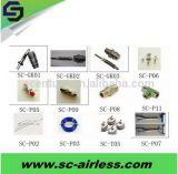 Le pulvérisateur privé d'air partie des garnitures de connecteur de tuyau flexible d'émerillon d'accessoires de peinture