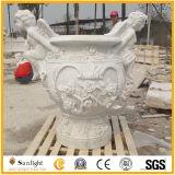 Het natuurlijk Geel/Beige/Wit Zandsteen van de Steen/Graniet/de Marmer Aangepaste Gesneden Vaas van de Tuin Hand