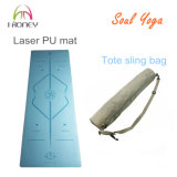 Stuoia di yoga della gomma naturale e dell'unità di elaborazione blu con l'allineamento incissione all'acquaforte del laser ed il marchio di marca