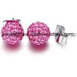 Acero Inoxidable 316L Diamante pendientes bola de cristal