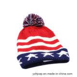 Sombrero hecho punto telar jacquar del sombrero de la gorrita tejida de POM POM