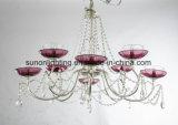 Dekorativer purpurroter Teller-Form-Eisen-Kristall-Luxuxleuchter