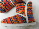 Женщин в теплой зимой Вязки Вязки ботинок и тапочки для установки внутри помещений