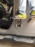 J257 Lantsun Pas de perçage Acier Noir Porte Charnières Pied Pied Pedal de repos pour Jeep Wrangler 2007-2016