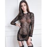 Sexy caliente venta caliente señoras lleno de encaje abierto espalda manga larga negro babydoll