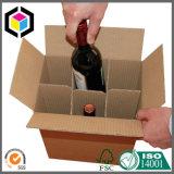 Caixa ondulada por atacado da caixa para o transporte do vinho com divisores