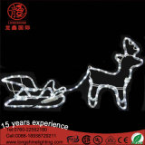 Weißes großes im Freien 2D Dekoration-Vater-Pferdeschlitten-Weihnachtsmotiv-Ren-Licht