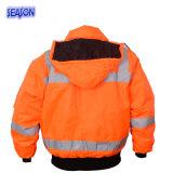 높은 시정 주황색 겨울 외투에 의하여 덧대지는 재킷 보호의 PPE 작업복 작업복