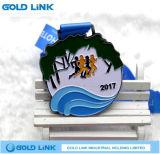 Le métal fait sur commande de médaille de marathon de médaillon courant de chemin ouvre le souvenir
