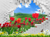 煉瓦3D壁紙の壁画か油絵から動作する美しい景色