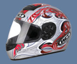 De Helm van de motor (102-Silver&Red)