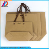 Bolso del regalo del papel de Brown Kraft de la fábrica de Guangzhou con la maneta del poliester