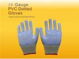 10 guanti lavorati a maglia cotone del calibro con i puntini del PVC