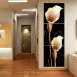 La pittura di parete moderna di vendita calda delle 3 parti fiorisce la maschera di arte della parete della decorazione della stanza della pittura verniciata sulla decorazione Mc-220 della casa della tela di canapa
