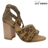 Mulheres alta moda calcanhar Casual Preto Sandálias sapatos (LC685-8)