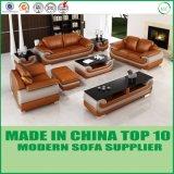 居間の家具の木の現代本革のソファー