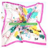 印刷されたショールを持つScarf 100%の絹90*90cmの方法女性