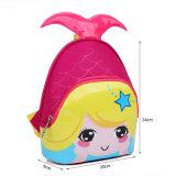 女の子の幼稚園の赤ん坊袋のための美しい人魚3Dのかわいい防水子供のランドセルの子供の漫画のバックパック袋