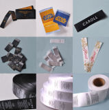 Etiqueta principal tecida costume do tamanho da etiqueta para o vestuário